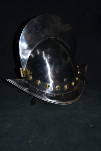 A spanish helmet known as a morion.