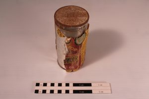 Can of KG baking powder found in the cooking kit.