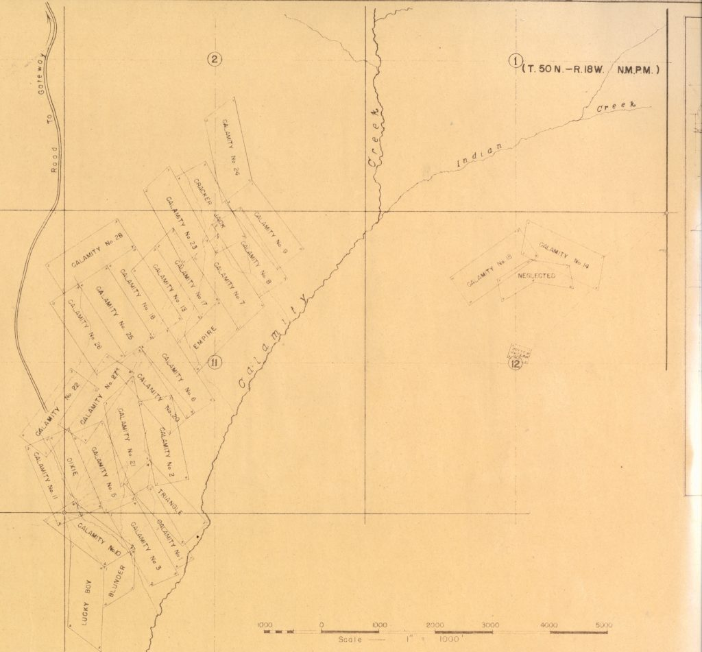 Claim map of Calamity Camp. Lloyd Files Research Library.