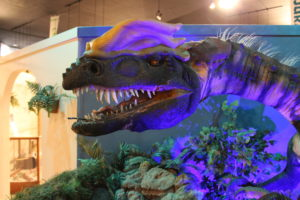 Dilophosaurus was made popular after it appeared on the film Jurassic Park. The movie got a lot wrong but you can still see him at Dinosaur Journey.