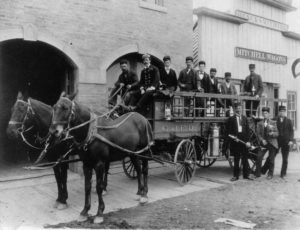Grand Junction's Fire Department with horses Jack and Sam around 1890. Photo # 199600530003, Loyd Files Research Library.