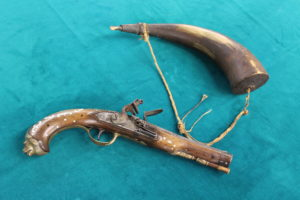 A very unique 17th century pistol and an important piece of history. This pistol is French, English and uniquely American. It would have been a trappers prized possession. MWC Collection.