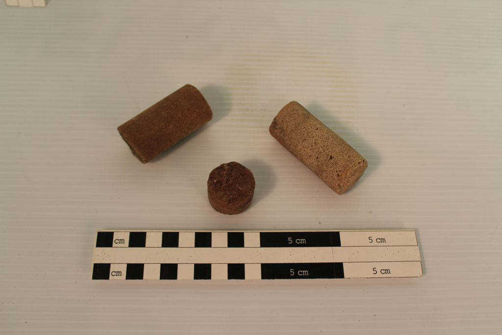 Sandstone core sample fragments from the Calamity Camp. BLM Collection.