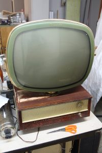 An old-fashioned, black and white TV.