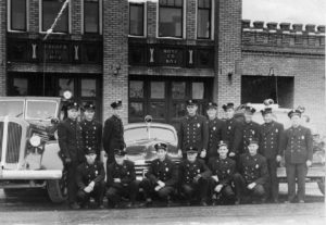 The Grand Junction Fire Department in 1949 with the companies cars. Photo # 1996.0053.0001, Loyd Files Research Library.