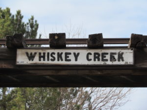 The Whiskey Creek Trestle was in bad shape when it was removed in in 1987. It was brought to the Cross Orchards Historic Site and restored.